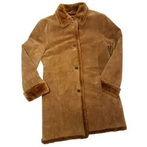 100% leather IB Exchange Brown suade sherpa jacket